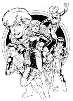 Le donne della Reboot Legion. Disegno di Jeffrey Moy