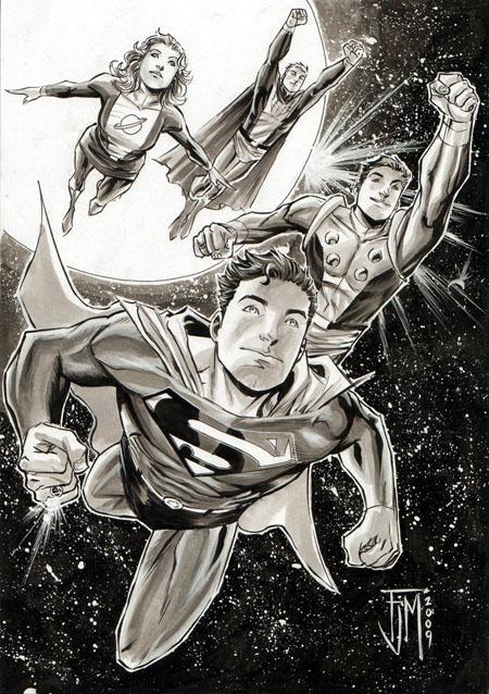 Superboy e la Legione dei Super-Eroi, in una illustrazione di Francis Manapul
