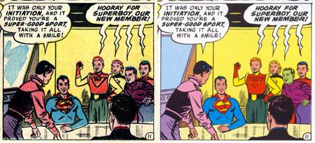 A sinistra, una vignetta di Adventure Comics (vol.I) #247 scansionata dall'edizione originale. A destra, come la stessa vignetta appare nella ristampa su Legion of Super-Heroes Archives vol. 1 (1991)