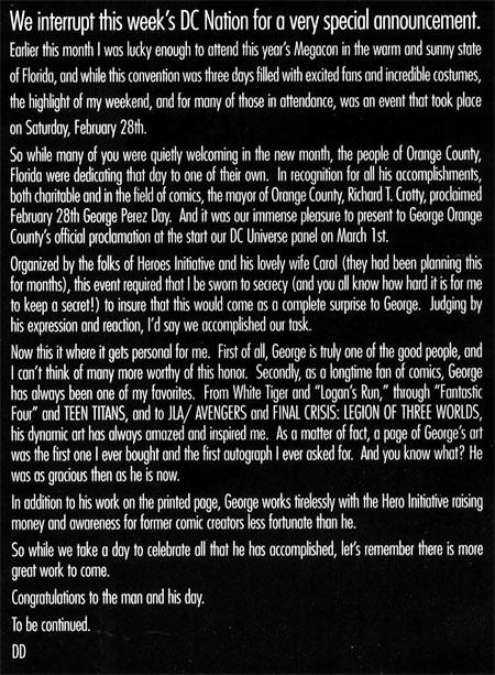 """Testo dal """"DC Nation"""" dell'1 Aprile 2009"""
