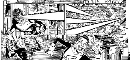 "Sequenza in anteprima da ""Final Crisis: Legion of 3 Worlds"" #4, in uscita a Maggio 2009. Disegni di George Pérez. Clicca sull'immagine per ingrandirla"