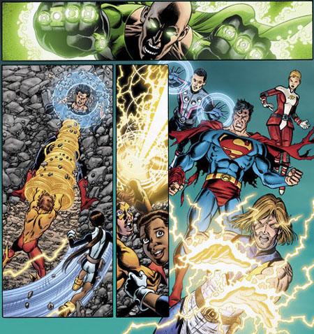 """Una nuova anteprima di """"Final Crisis: Legion of 3 Worlds"""" #4, disegni di George Pérez. Clicca sull'immagine per ingrandirla"""
