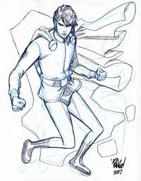 Mon-El in uno schizzo di Mike Wieringo. Clicca sull'immagine per ingrandirla