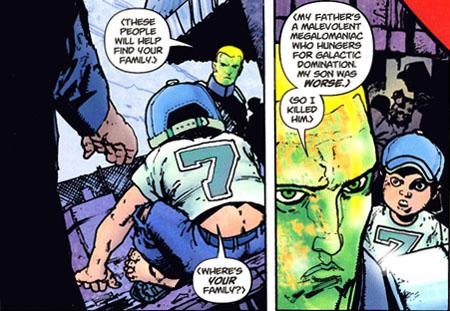 """Vril Dox II confessa l'omicidio del proprio figlio. Da """"Omega Men"""" (vol.II) #3, disegni di Henry Flint"""