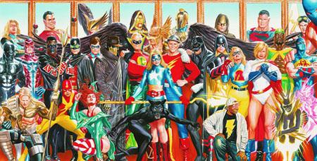 """Immagine completa realizzata da Alex Ross per le tre copertine di """"Justice Society of America (vol.III)"""" #26"""