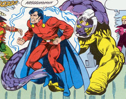 "Tellus affronta Mon-El in ""Legion of Super-Heroes"" (vol.III) #26, disegni di Greg LaRocque"