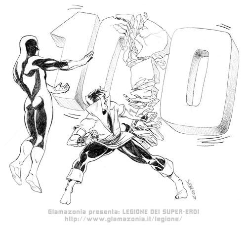 Frantumato il traguardo dei 100 post! Disegno di Fabio Graziano, 2007