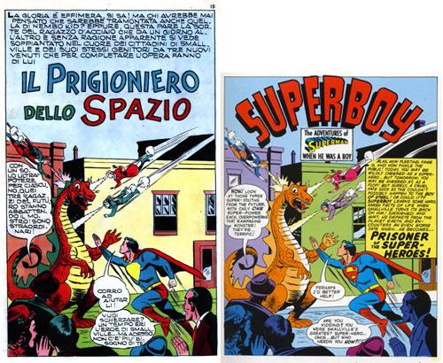 """Confronto tra due edizioni della stessa tavola: a destra, la versione originale; a sinistra, quella italiana, da """"Albi del Falco"""" 221"""