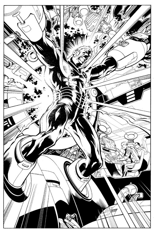 "Versione inchiostrata di pagina 1 di ""Legion of Super-Heroes"" (vol. VI) #1, di Yildiray Cinar"
