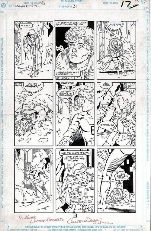 "Una tavola di Colleen Doran da ""Legion of Super-Heroes"" (vol.IV) #31 (1992)"