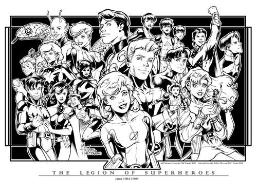 Una litografia della Legione realizzata da Jeffrey Moy per il Comicon di San Diego