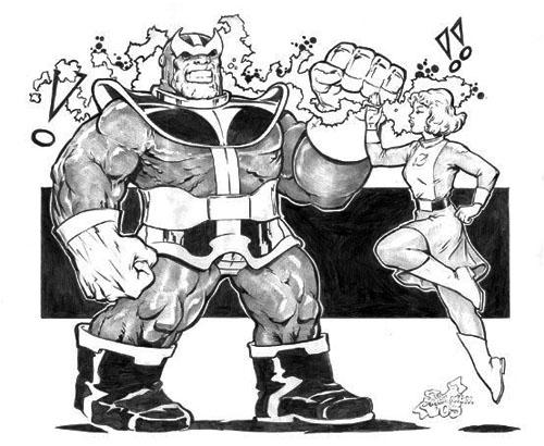 Scontro tra alieni di Titano: Saturn Girl contro Thanos della Marvel Comics (disegni di Steve Mannion)