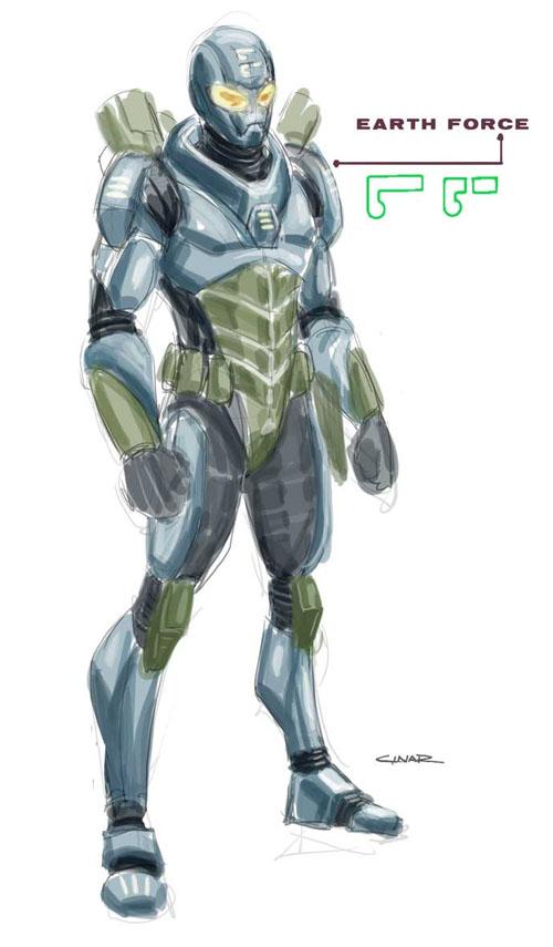 Design di Yildiray Cinar per i soldati della Earth Force