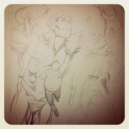 Work in progress per un'illustrazione legionaria di Daniel HDR: fase 3