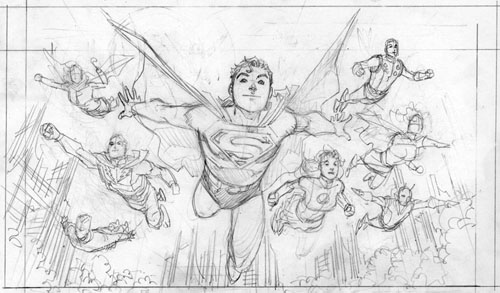 "Work-in-Progress di F. Manapul per ""Adventure Comics"" (vol.III) #1, 2009: le matite"
