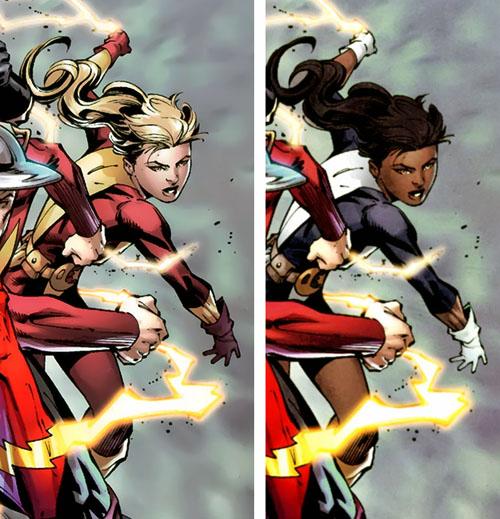 """A sinistra, XS in """"FCBD: Green Lantern / Flashpoint Special Edition"""" #1; a destra, lo stesso personaggio come appare  in """"Flashpoint"""" #1"""