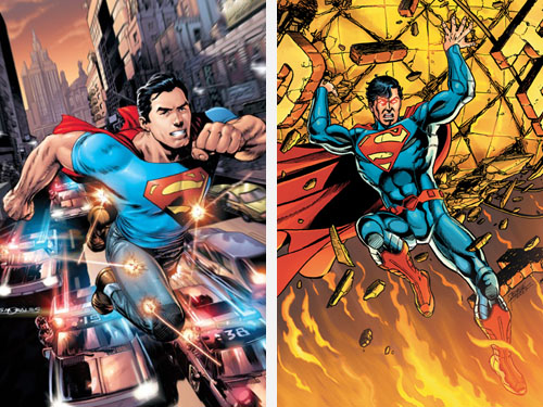 "Copertine di (da sinistra) ""Action Comics"" (vol.II) #1 e ""Superman"" (vol.III) #1"