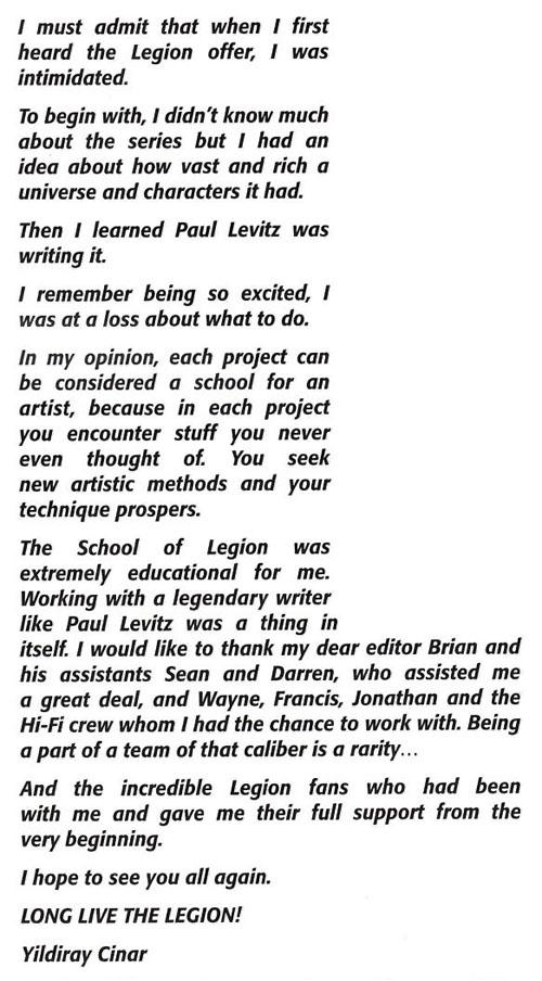 """La lettera di Yildiray Cinar da """"Legion of Super-Heroes"""" (vol.VI) #15"""