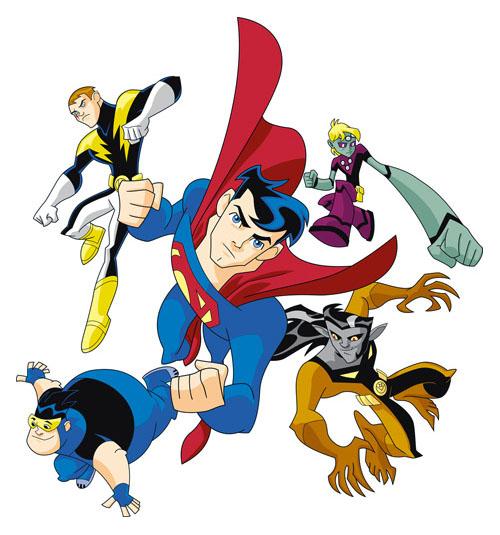 Alcuni dei protagonisti del cartoon sulla Legione dei Super-Eroi