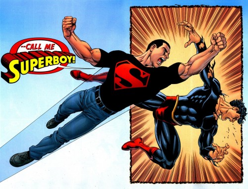 "Superboy visto da George Pérez, da ""Final Crisis: Legion of 3 Worlds"" #4 (2009)"