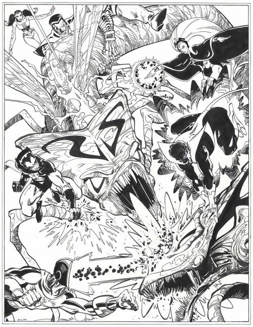 La Legione e gli X-Men (Marvel Comics) contro gli alieni della Covata, disegni di Walt Simonson